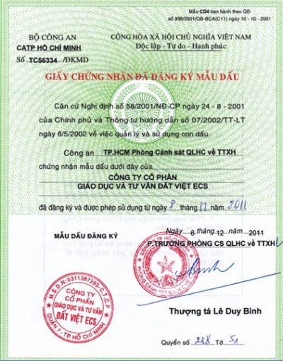 Trung Tâm Giáo Dục Đất Việt được Bộ Công An cấp dấu công ty