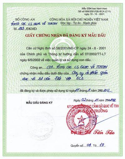 Trung Tâm Giáo Dục Đất Việt được bộ công an cấp dấu nổi cho công ty