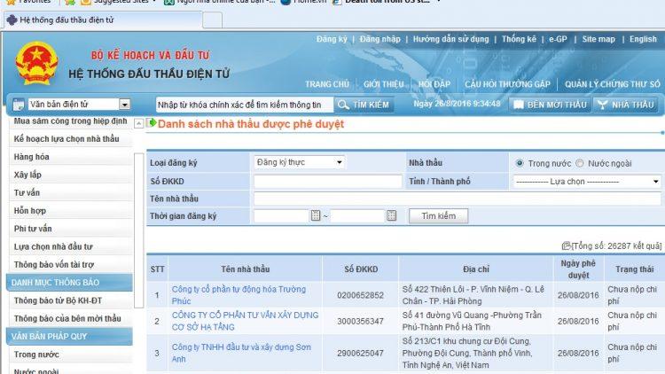 Dịch vụ đăng ký trên mạng Đấu thầu Quốc Gia