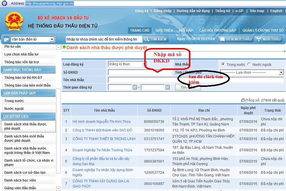 Dịch vụ đăng ký trên mạng Đấu thầu Quốc Gia 3