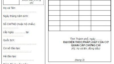 Mẫu chứng chỉ hành nghề hoạt động xây dựng Theo thông tư số 17/2016/TT-BXD